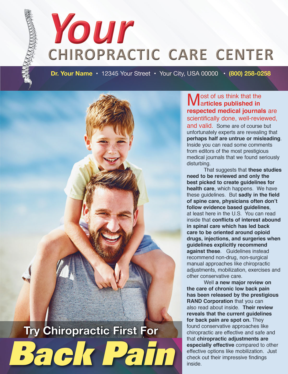 Try Chiropractic First for Back Pain