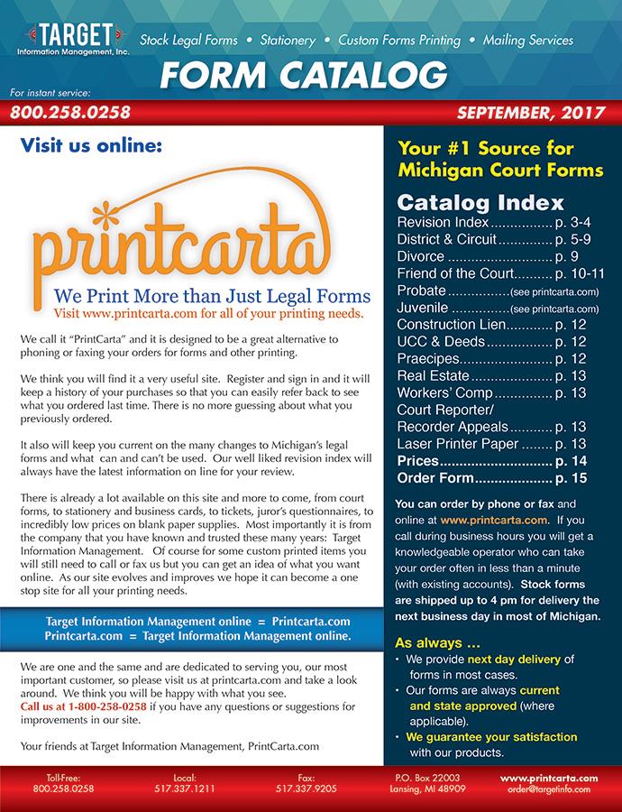 Michigan Legal Forms   Printcarta   Lansing MI