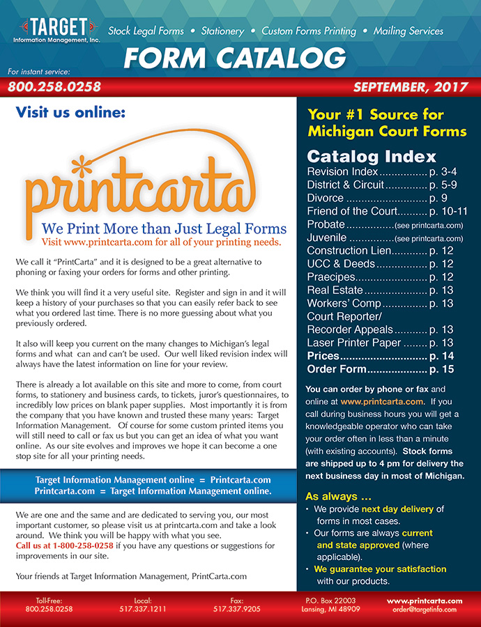 Michigan Legal Forms  Printcarta  Lansing Mi